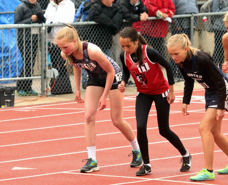 . Ainsley Powell of Merino High School (left) takes the starting line to race at the Colorado state track and field championships in Lakewood over the weekend. (photo by Melanie Kindvall)
