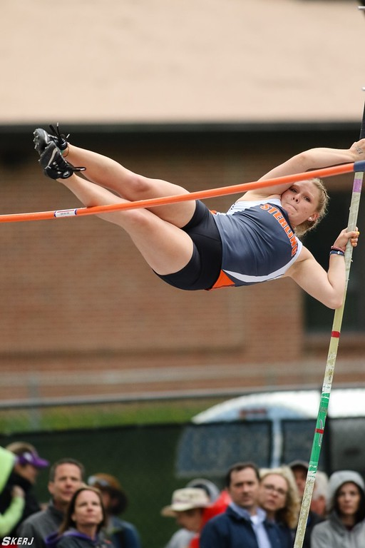. Kaitlyn Maker competes in the pole vault at the state track and field meet. (photo courtesy of Joseph Skerjanec, OTSPORTSCHEK)