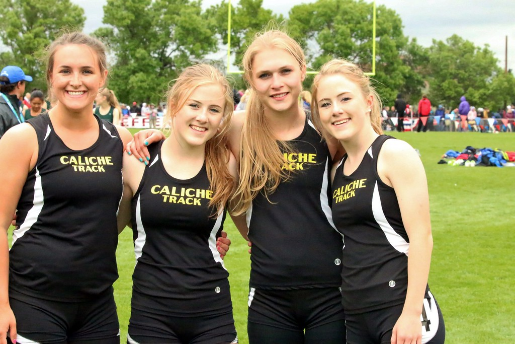. The Caliche girls 4 x 100 meter relay team includes (from left) Sydney Sorensen, Cristen Houghton, Danielle Painter and Kaitlyn Houghton. (photo by Melanie Kindvall)