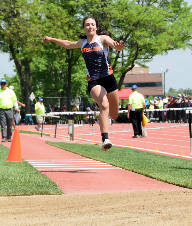 . Valarie Allen of Sterling High School competes in the triple jump at the state meet in Lakewood over the weekend. (photo by Kyle Inman)