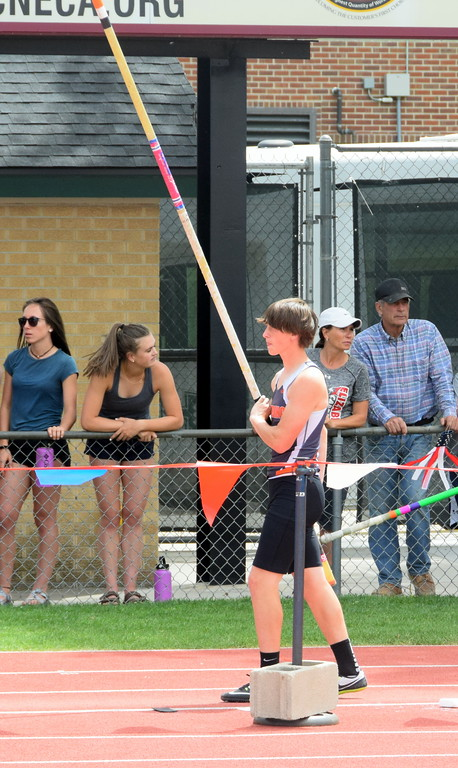 . Conner Polenz of Sterling High School lines up for an attempt in the pole vault at the state meet. (photo by Kyle Inman)