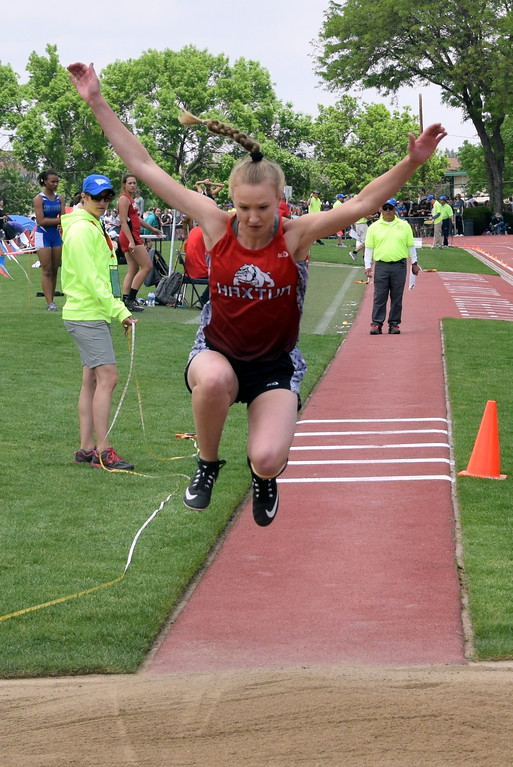 . Dawson Knode of Haxtun High School competes in the triple jump at the state meet over the weekend. (photo by Kyle Inman)