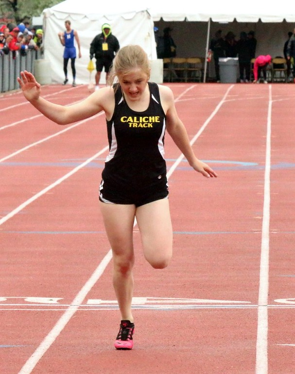 . Cristen Houghton of Caliche High School competes during the sprints at the state meet in Lakewood over the weekend. (photo by Melanie Kindvall)