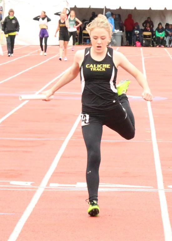 . Kaitlyn Houghton of Caliche High School competes during a relay race at the state track meet over the weekend. (photo by Melanie Kindvall)