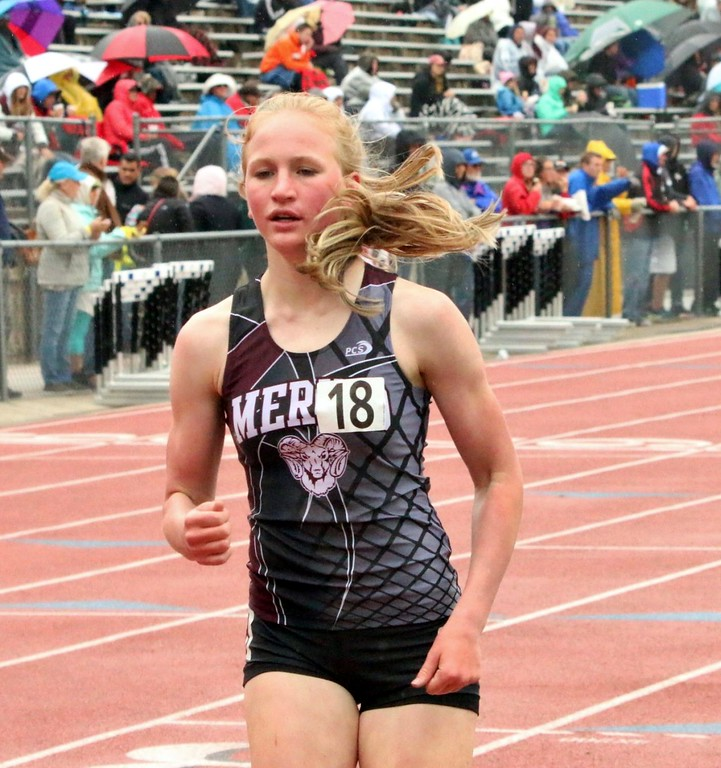 . Ainsley Powell of Merino High School runs during the 1,600 meter race at the state meet in Lakewood over the weekend. (photo by Melanie Kindvall)
