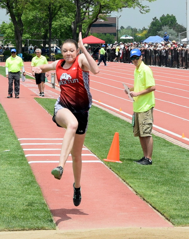 . Marissa Schelling of Haxtun High School goes for an attempt in the triple jump at the state meet over the weekend in Lakewood. (photo by Kyle Inman)