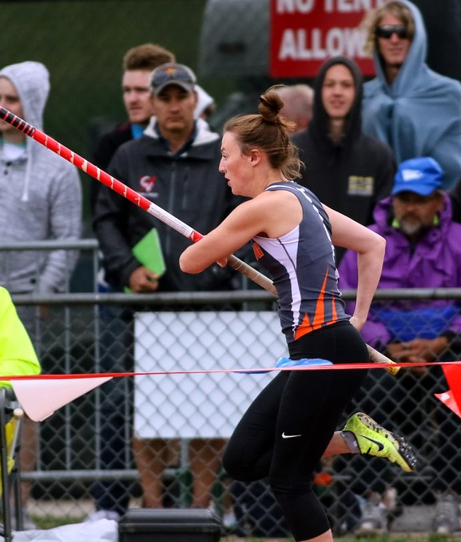 . Kaitlynn Prelle goes for an attempt in the pole vault during the state track and field meet in Lakewood over the weekend. (photo courtesy of Joseph Skerjanec, OTSPORTSCHEK)