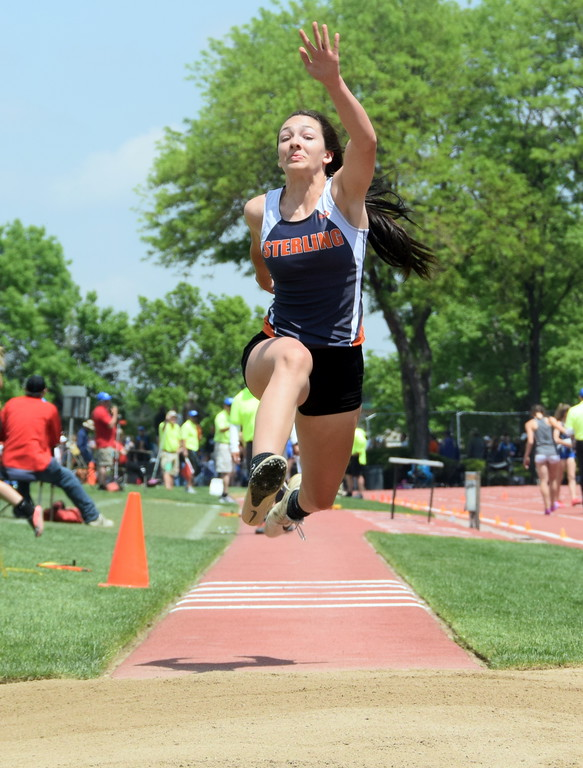 . Valarie Allen of Sterling High School goes up for an attempt in the triple jump at the state meet over the weekend. (photo by Kyle Inman)