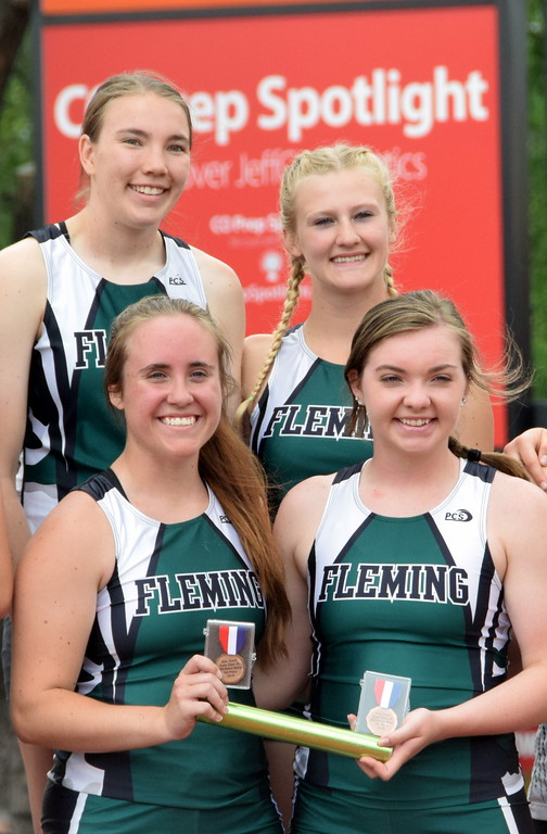 . The Fleming 4x200 meter relay team of (bottom row from left) Bailey Chintala, Jenna Lengfelder, and (top row from left) Kendyl Kirkwood and Morgan Cockroft finished in fifth place on the podium at the state meet over the weekend. (photo by Kyle Inman)