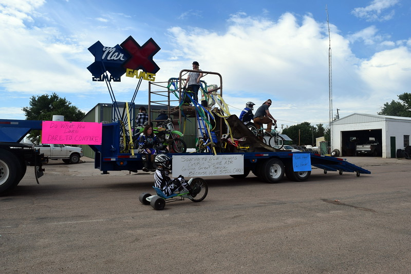 Marick's Waste Disposal's float makes its way down the Crook Fair Parade route Saturday, July 29, 2017.