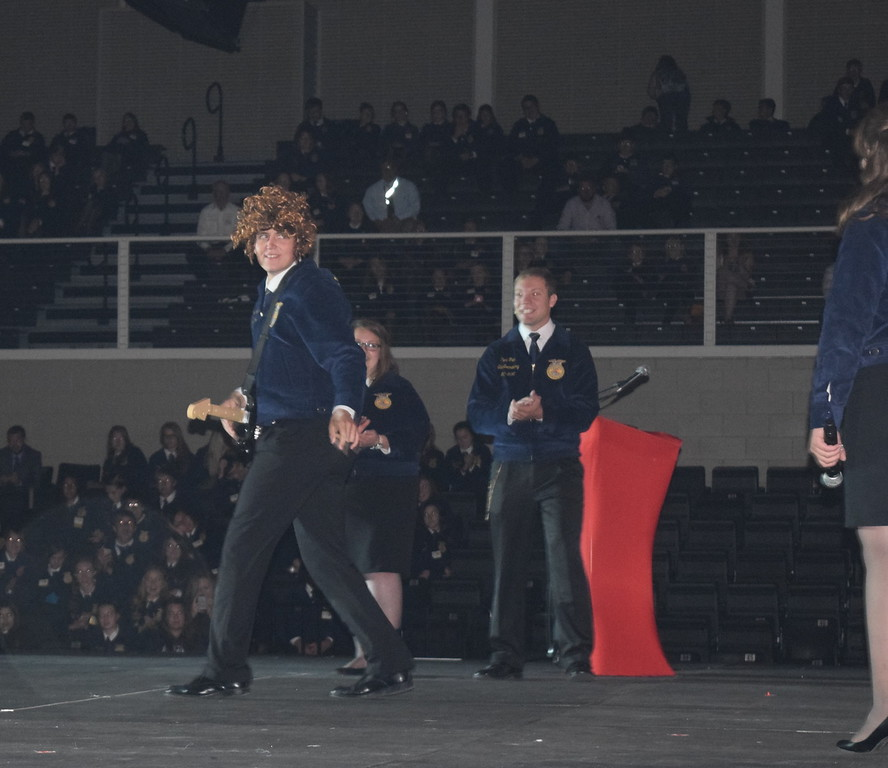 "Colorado FFA State Officer Nick Vollmer rocks out as a competitor in FFA's version of ""The Voice"" during the fifth session of the Colorado FFA State Convention Thursday, June 9, 2016."