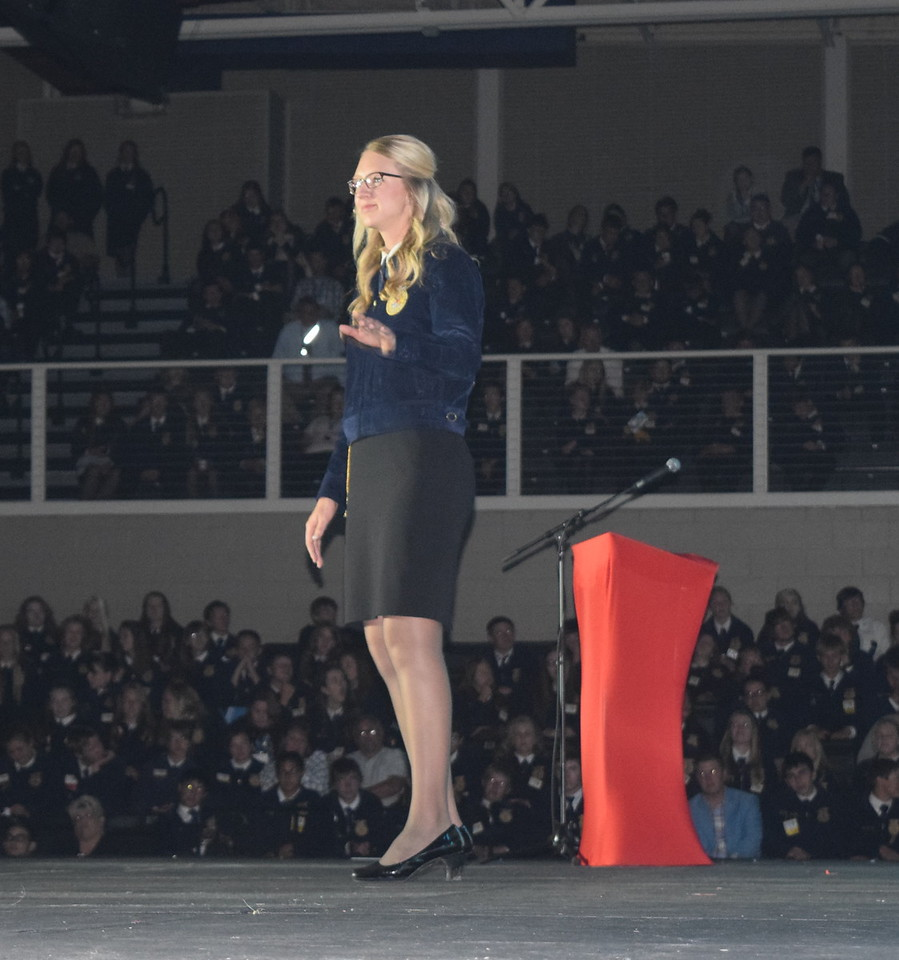 The 2015-16 Colorado FFA State President Emma Mortensen, of Brush, gives her retiring remarks during the closing session of the 88th Annual Colorado FFA State Convention Thursday, June 9, 2016.