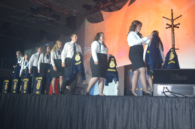 The 2015-16 state officers hang up their blue and gold jackets at the close of the 88th Annual Colorado FFA State Convention Thursday, June 9, 2016.