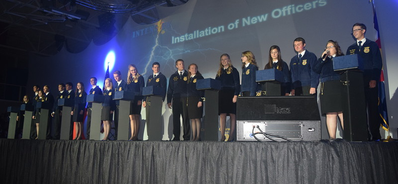 The 2016-17 state FFA officers install the new 2016-17 officers during the final session of the Colorado FFA State Convention Thursday, June 9, 2016.