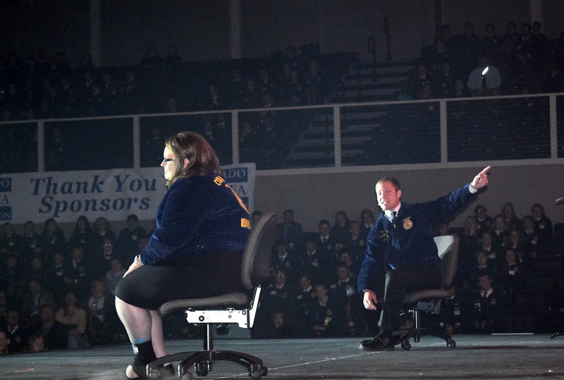 "State FFA officers Bryce Funk, of New Raymer, and Tierney Wilson, speak about how to ""Intensify Your Passion"" at the fifth session of the Colorado FFA State Covnention Thursday, June 9, 2016."