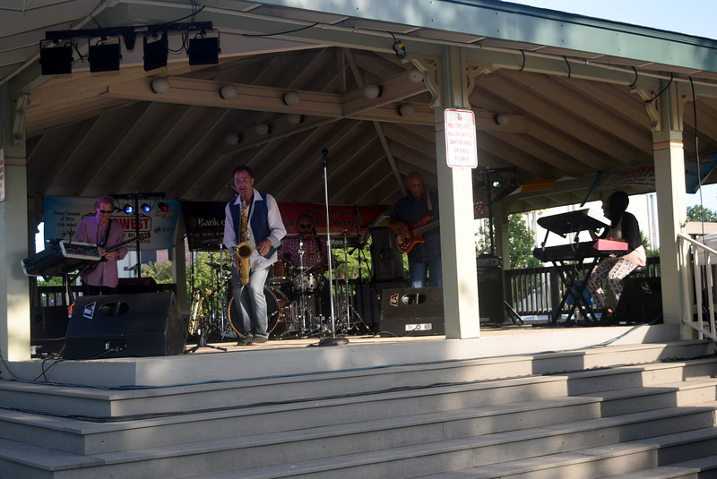 Dotsero brought jazz to downtown Sterling with their performance Friday, July 15, 2016, at the Transwest Concerts on the Green...July Jamz concert, put on by Sterling Arts Council, at the Logan County Courthouse Gazebo.