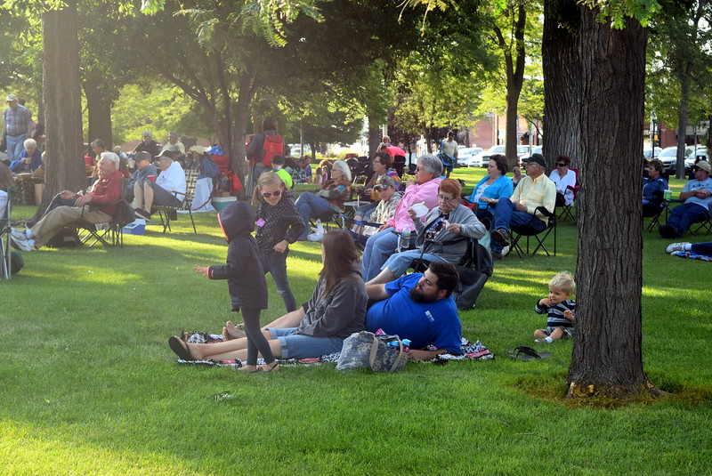 The crowd enjoys the music of jazz band Dotsero at the July Jamz concert Friday, July 15, 2016.
