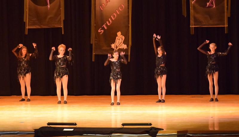 "Sarah Maker, Marissa Kujala, Cailyn Brecht, Macie Wells and Cahlie Kerker dance to ""Thriller"" at Durante's Dance Studio's spring recital Saturday, June 10, 2017."