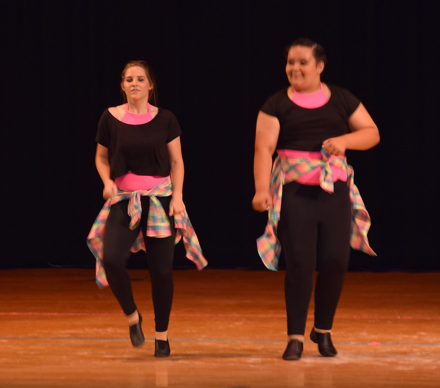 """Lucinda Mares and Courtney Lundgren dance to """"Larger Than Life"""" at Durante's Dance Studio's spring recital Saturday, June 10, 2017."""