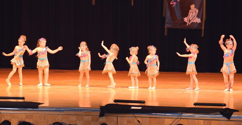 "Jemma Horton, Addison Mason, Jenna Hoffner, Lainey Werner, Camille Lenz, Keirah Nelson, Laityn Bieber and Luella Hensley dance to ""Color of the Wind"" at Durante's Dance Studio's spring recital Saturday, June 10, 2017."