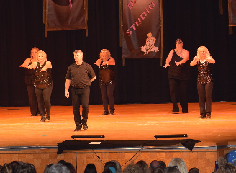 "Tina Zimmerman, Tiffany Blecha, Misty Canada, Nicki Smith, Joyce Dizmang and Randy Finley dance to ""Single Ladies"" at Durante's Dance Studio's spring recital Saturday, June 10, 2017."