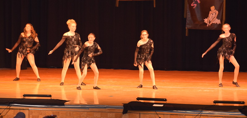 "Sarah Maker, Marissa Kujala, Cailyn Brecht, Macie Wells and Cahlie Kerker dance to ""Thriller"" at Durante's Dance Studio's spring recital Saturday, June 10, 2017."