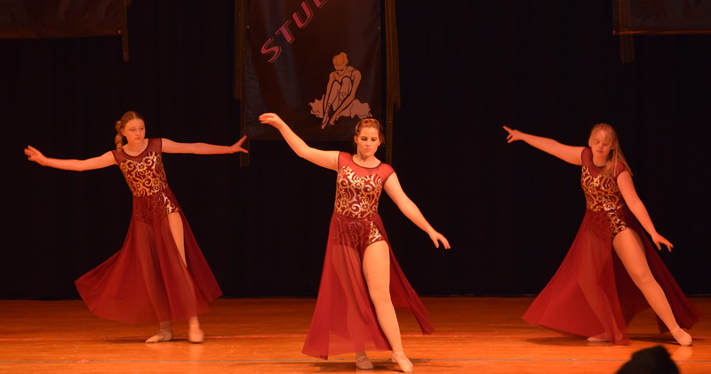 "Erika Meakins, Courtney Bonn and Courtney Lundgren dance to ""Girl Crush"" at Durante's Dance Studio's spring recital Saturday, June 10, 2017."