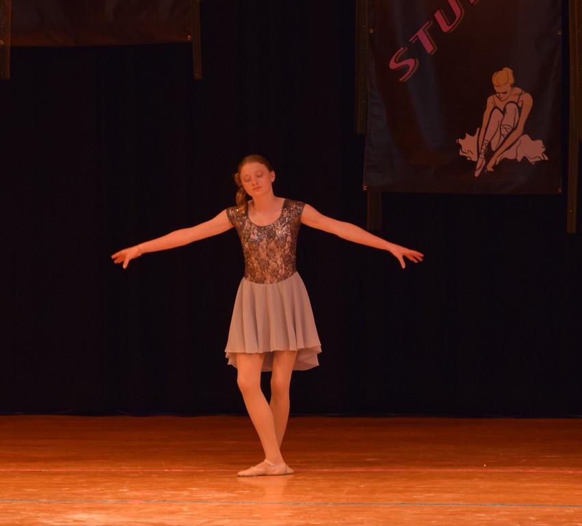 "Erika Meakins dances to ""Rise"" at Durante's Dance Studio's spring recital Saturday, June 10, 2017."