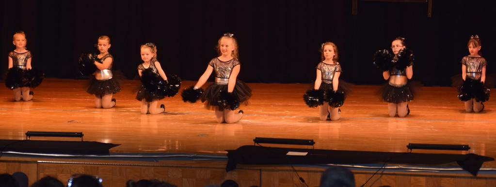 """. Jordan Kuehl, McKenzie Beck, Zooey Knorr, Sophie Brown, Bailey Workman, Piper Withers and Taylor Fouch dance to \""""We Got the Beat\"""" at Durante\'s Dance Studio\'s spring recital Saturday, June 10, 2017."""