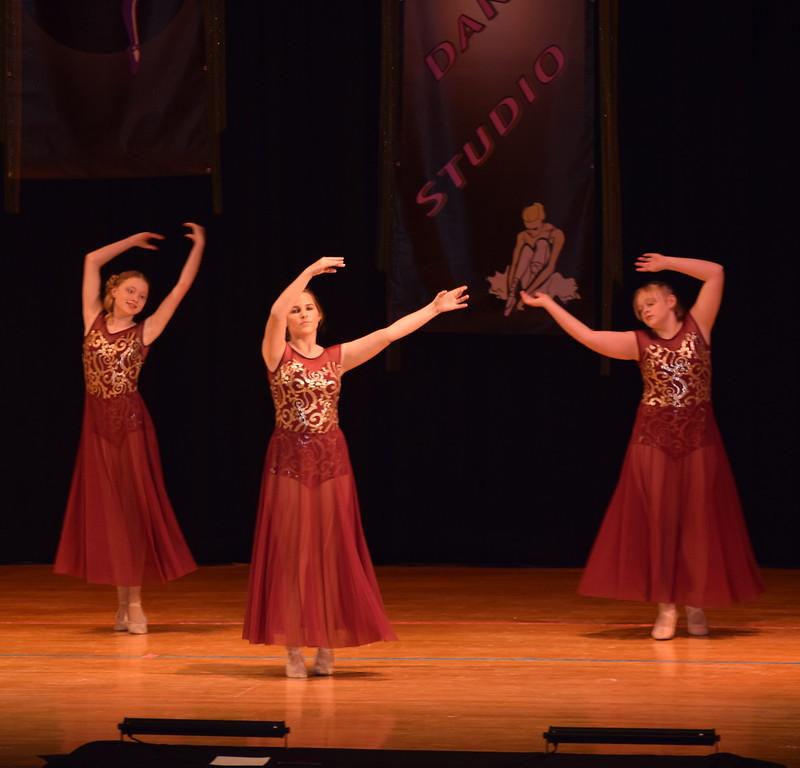 "Erika Meakins, Courtney Bonn and Courtney Lundgren dance to ""Girl Crush"" at Durante's Dance Studio's spring recital Saturday, June 10, 2017."