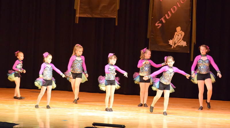 "Tilly Foote, Samantha Seger, Lily Miller, Hadley Kerst, Alexis Nelson, Taryn Thayer and Sujey Bustillos dance to ""Take My Breath Away"" at Durante's Dance Studio's spring recital Saturday, June 10, 2017."