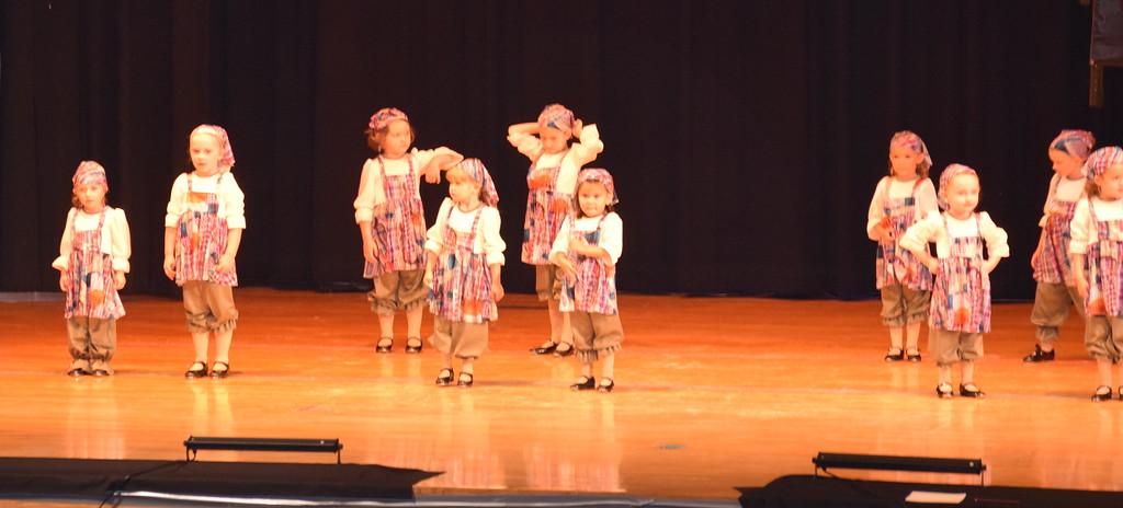 ". Joy Soukup, Lizabeth Aucoin, Emma Scheopner, Amiyah Steele, Kadence Hooton, Khloe McBride, Peyton Veik, Alyson Burton, Marly Mentzel, Charloette Hostetler, Brooke Higgins, Landree Ulrich, Paisley Spahn and Emma Lerdal dance to \""Hard Knock Life\"" at Durante\'s Dance Studio\'s spring recital Saturday, June 10, 2017."