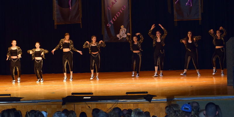 "Chloe Fisher, Cheyanne Giddings, Makaiden Pace, Madyson Johnstone, Ciara Thompson, Ashby Hux, Aly Young and Lauren Rice dance to ""Gas Pedal/Outta Your Mind"" at Durante's Dance Studio's spring recital Saturday, June 10, 2017."