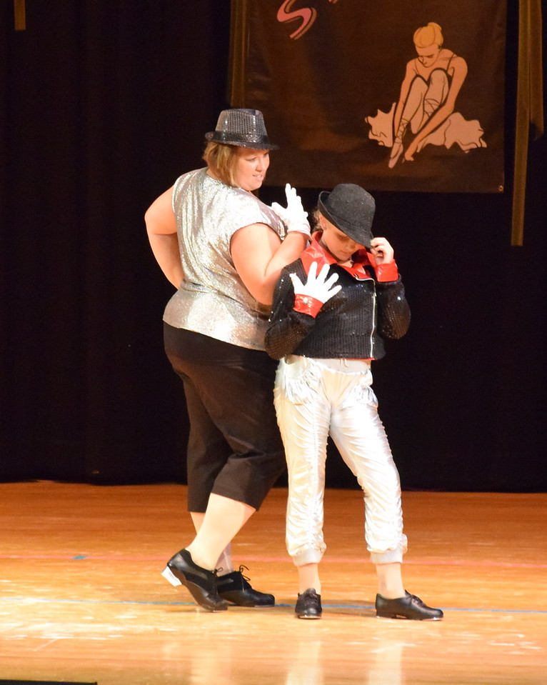 """Misty and Courtney Canada dance to """"Beat It"""" at Durante's Dance Studio's spring recital Saturday, June 10, 2017."""