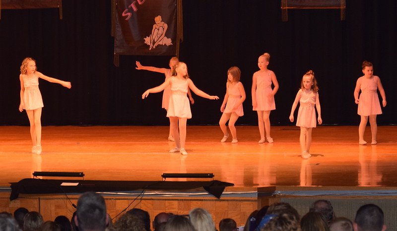 "Reese Lock-Totten, Rylan Knorr, Hallie Lopez, Natalie Adels, Taylor Swan, Ameila Hupke and Addie Unrein dance to ""Didn't Leave Nobody But the Baby"" at Durante's Dance Studio's spring recital Saturday, June 10, 2017."