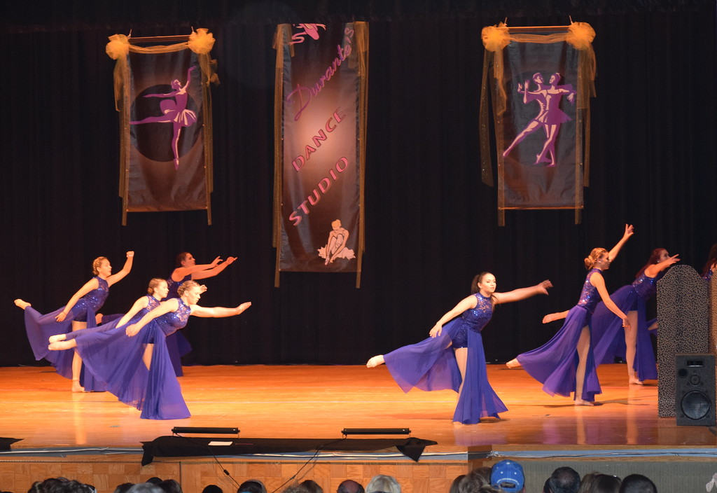 """. Chloe Fisher, Cheyanne Giddings, Makaiden Pace, Madyson Johnstone, Ciara Thompson, Ashby Hux, Aly Young and Lauren Rice dance to \""""Million Reasons\"""" at Durante\'s Dance Studio\'s spring recital Saturday, June 10, 2017."""