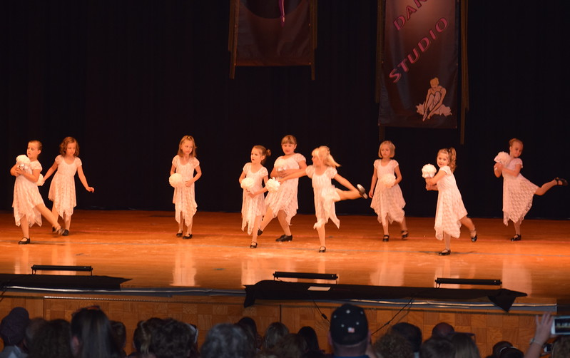 "Taylor Fouch, Emory Monheiser, Alyssa Buckler, Makinley Sulliven-Squier, Zaly Blecha, Zara Conners, Daisey Barkley, Makenna Rye and Leah Bell dance to ""Chapel of Love"" at Durante's Dance Studio's spring recital Saturday, June 10, 2017."