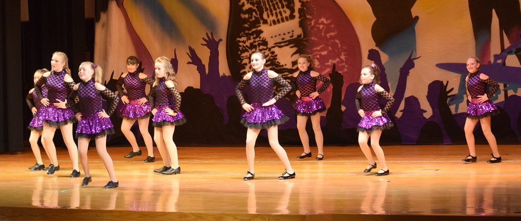". Courtney Canada, McKenzie Beck, Jaiden Reiman, Kami Neal, Marissa Kujala, Bailey Workman, Kaina Carrasco, Taryn Seifried and Morgan Lambert dance to ""One Thing Leads to Another\"" during Durante\'s Dance Studio\'s \""Dancing to the 80\'s\"" recital Saturday, June 9, 2018."