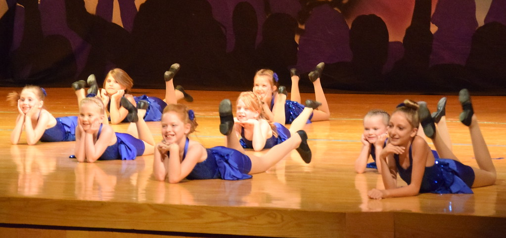". Jordan Fisher, Piper Withers, Zooey Knorr, Zara Connors, Amelia Hupke, Katelynn Fisher, Hallie Lopez and Emory Monheiser dance to ""Can\'t Even Get the Blues\"" during Durante\'s Dance Studio\'s \""Dancing to the 80\'s\"" recital Saturday, June 9, 2018."