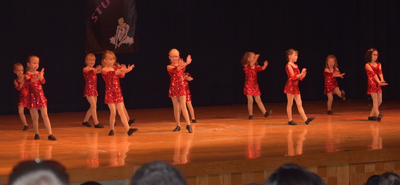"Taryn Fare, Taylor Frank, Kira Christensen, Lia Sprague, Sadee Mosenteen, Jinjer Stroyek, Raia Sprague, Alexis Nelson, Farran Koberstein, Ava Koberstein and Genni Koberstein dance to ""Walking on Sunshine"" during Durante Dance Studio's spring recital, ""Wishes From Above,"" Friday, June 3, 2016."