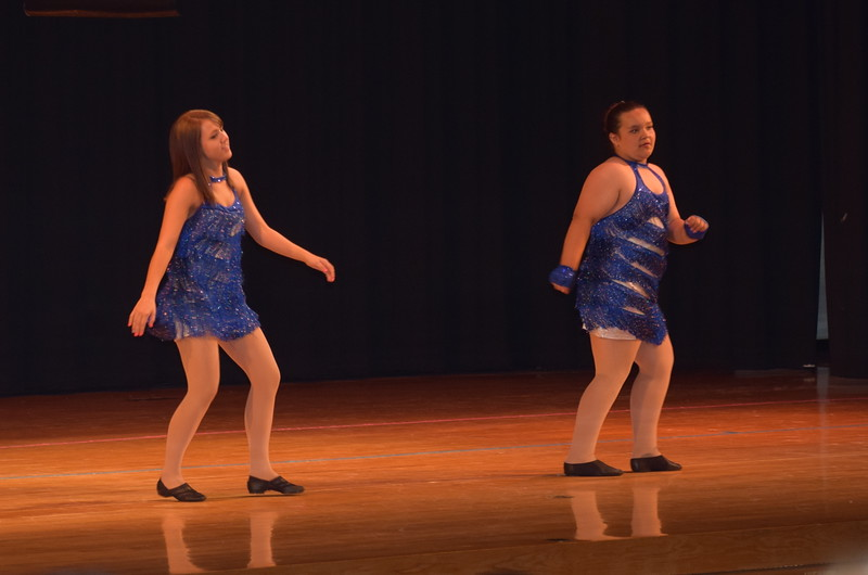 "Lucinda Mares and McKenzie Crowe dance to ""Party in the USA"" during Durante Dance Studio's spring recital, ""Wishes From Above,"" Friday, June 3, 2016."