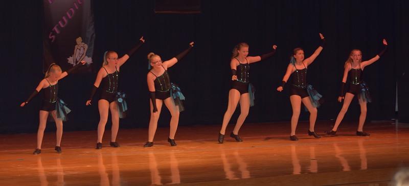 "Morgan Lambert, Ambert Lambert, Courtney Bonn, Kayleigh Mackintosh, Sarah Maker and Cahlie Kerker dance to ""Ex's and Oh's"" during Durante Dance Studio's spring recital, ""Wishes From Above,"" Friday, June 3, 2016."