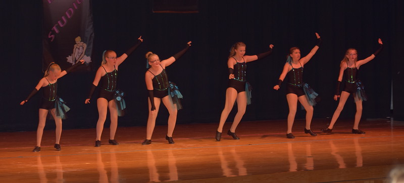 "Morgan Lambert, Ambert Lambert, Courtney Bonn, Kayleigh Mackintosh, Sarah Maker and Cahlie Kerker dance to ""Ex's and Oh's"" during Durante Dance Studio's spring recital, ""Wishes From Above,"" Friday, June 3, 2016."