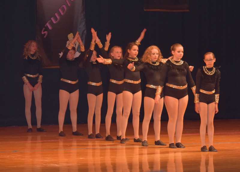 "Sarah Maker, Cahlie Kerker, Jillian Matthews, Lauren Rice, Chloe Fisher, Cailyn Brecht, Maci Wells and Adonika Bolt dance to ""Come With Me"" during Durante Dance Studio's spring recital, ""Wishes From Above,"" Friday, June 3, 2016."