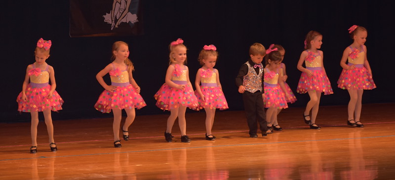 "Aly Johnson, Ella Moser, Lexi Moser, Alexandra Torres, Corbin Dettner, Khloe McBride, Lizabeth Aucoin, Hadley Hurtado and Jersie Jamison dance to ""Lollipop"" during Durante Dance Studio's spring recital, ""Wishes From Above,"" Friday, June 3, 2016."