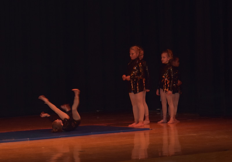 "Sophie Brown, Rhylie Pace, Elissa Bartholomew, Jaiden Steele and Courtney Canada show off their gymnastics skills while ""Eye of the Tiger"" plays during Durante Dance Studio's spring recital, ""Wishes From Above,"" Friday, June 3, 2016."
