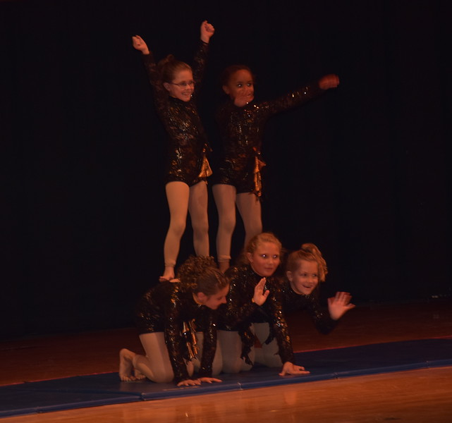"""Sophie Brown, Rhylie Pace, Elissa Bartholomew, Jaiden Steele and Courtney Canada perform to """"Eye of the Tiger"""" during Durante Dance Studio's spring recital, """"Wishes From Above,"""" Friday, June 3, 2016."""