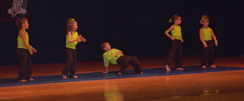 "Taylor Fouch, Jordan Kuehl, Hunter Foutch, Taylor Swan and Jaidynn Reiman dance to ""You Can't Touch This"" during Durante Dance Studio's spring recital, ""Wishes From Above,"" Friday, June 3, 2016."