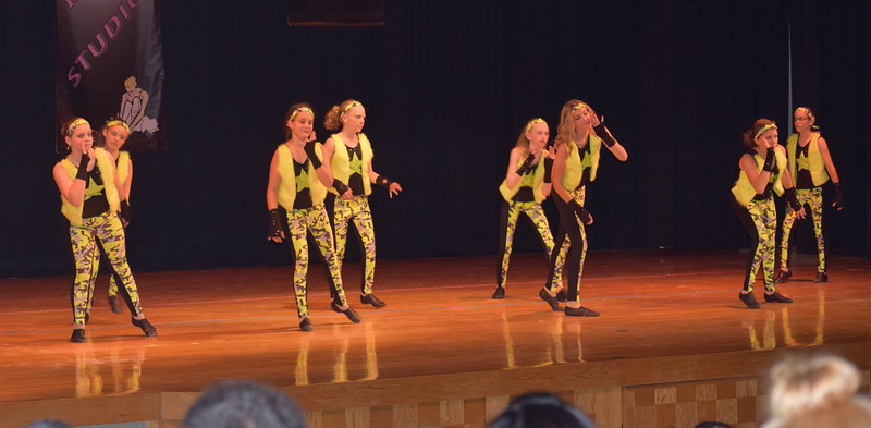 "Jillian Matthews, Adonika Bolt, Lauren Rice, Masi Wells, Chloe Fisher, Cahlie Kerker, Sarah Maker and Cailyn Brecht dance to ""Hey Mama"" during Durante Dance Studio's spring recital, ""Wishes From Above,"" Friday, June 3, 2016."