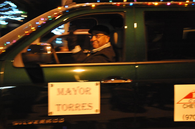 Mayor Dan Torres in the Logan County Chamber of Commerce's Parade of Lights , Dec. 4, 2014, in downtown Sterling